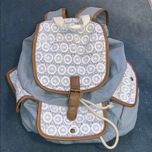 Black and white lace backpack